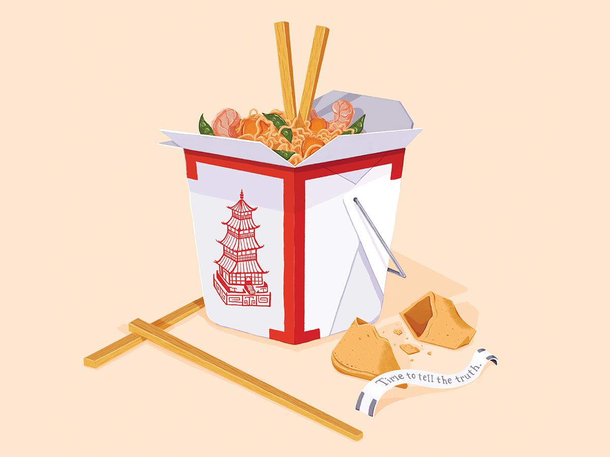 Illustrated drop cap of chinsese takeout with the letter T