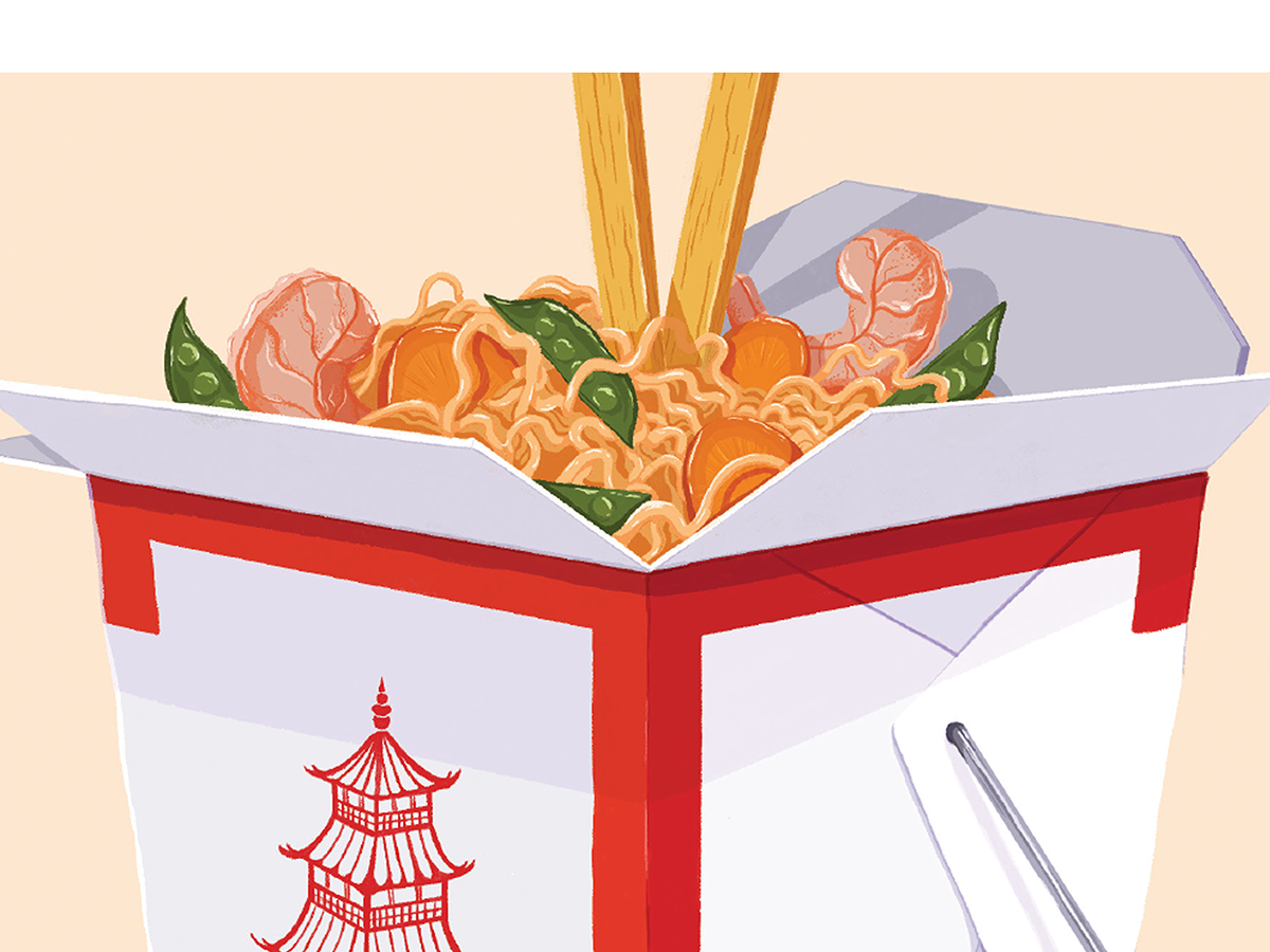 Illustration of the noodles in the drop cap