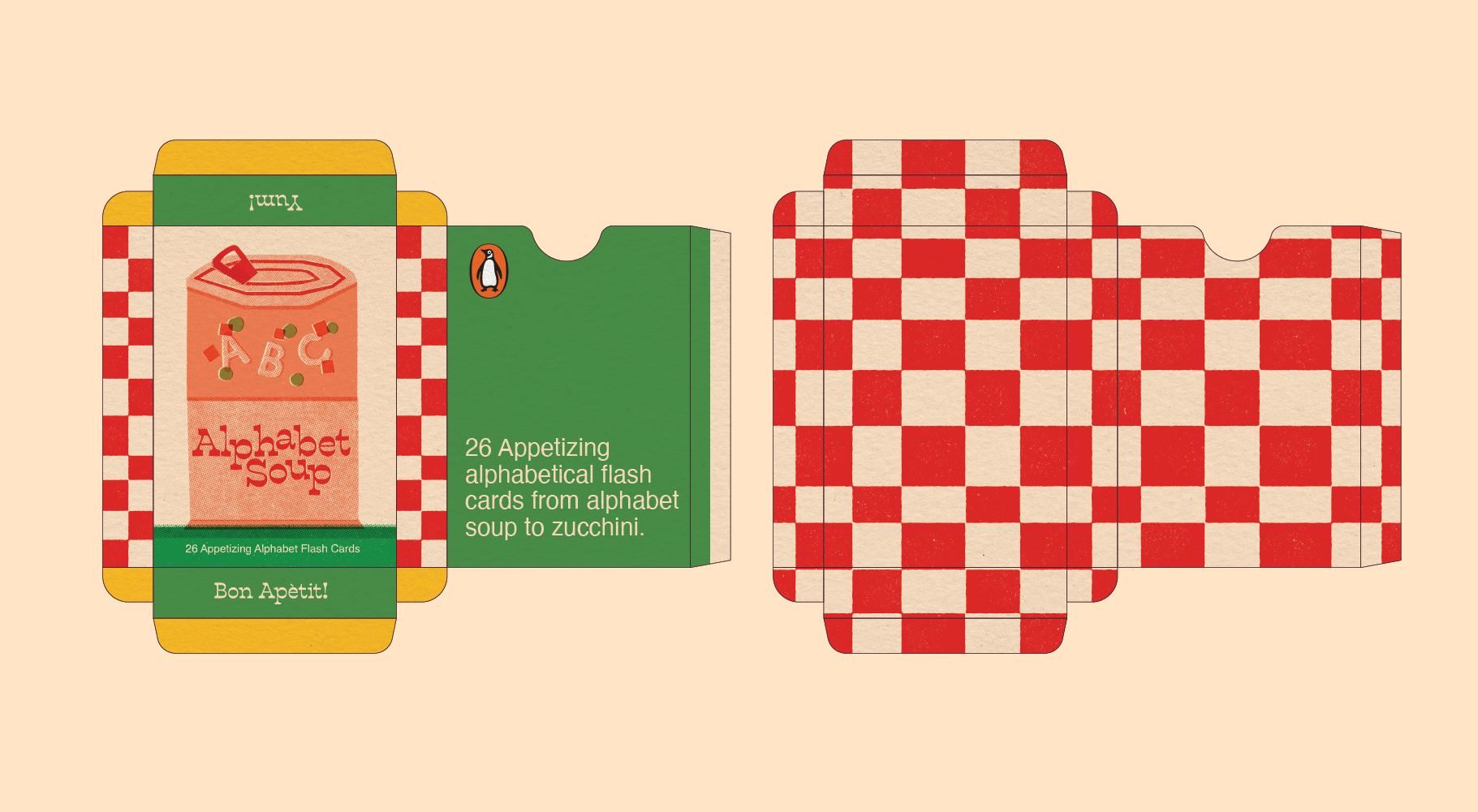 A net for the flashcard box. The inside features a red and white checkered pattern and the outside shows the cover illustration of a can of alphabet soup and a checkered pattern on the sides of the box.