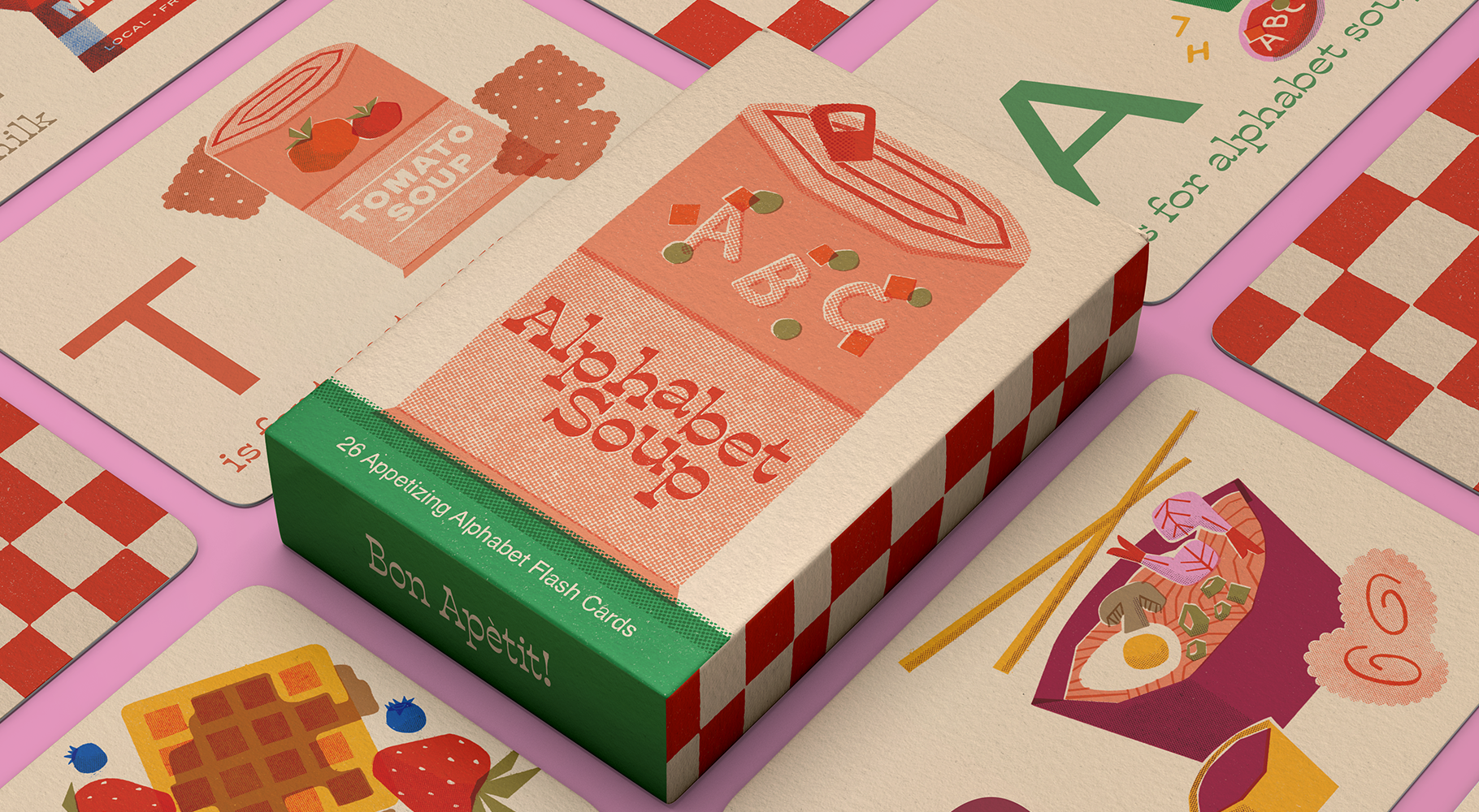 An image of a flashcard box for Alphabet Soup with a spread of cards. featuring R is for Ramen, T is for Tomato Soup, W is for Waffles and A is for Alphabet Soup.