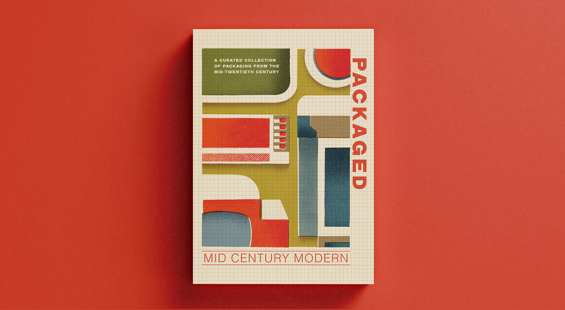 The cover for a book called Packaged - Mid Century Modern, featuring a vintage style illustration of flat packaging designs.