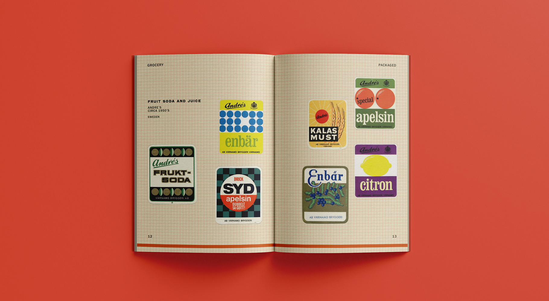 A catalogue spread featuring various juice labels.