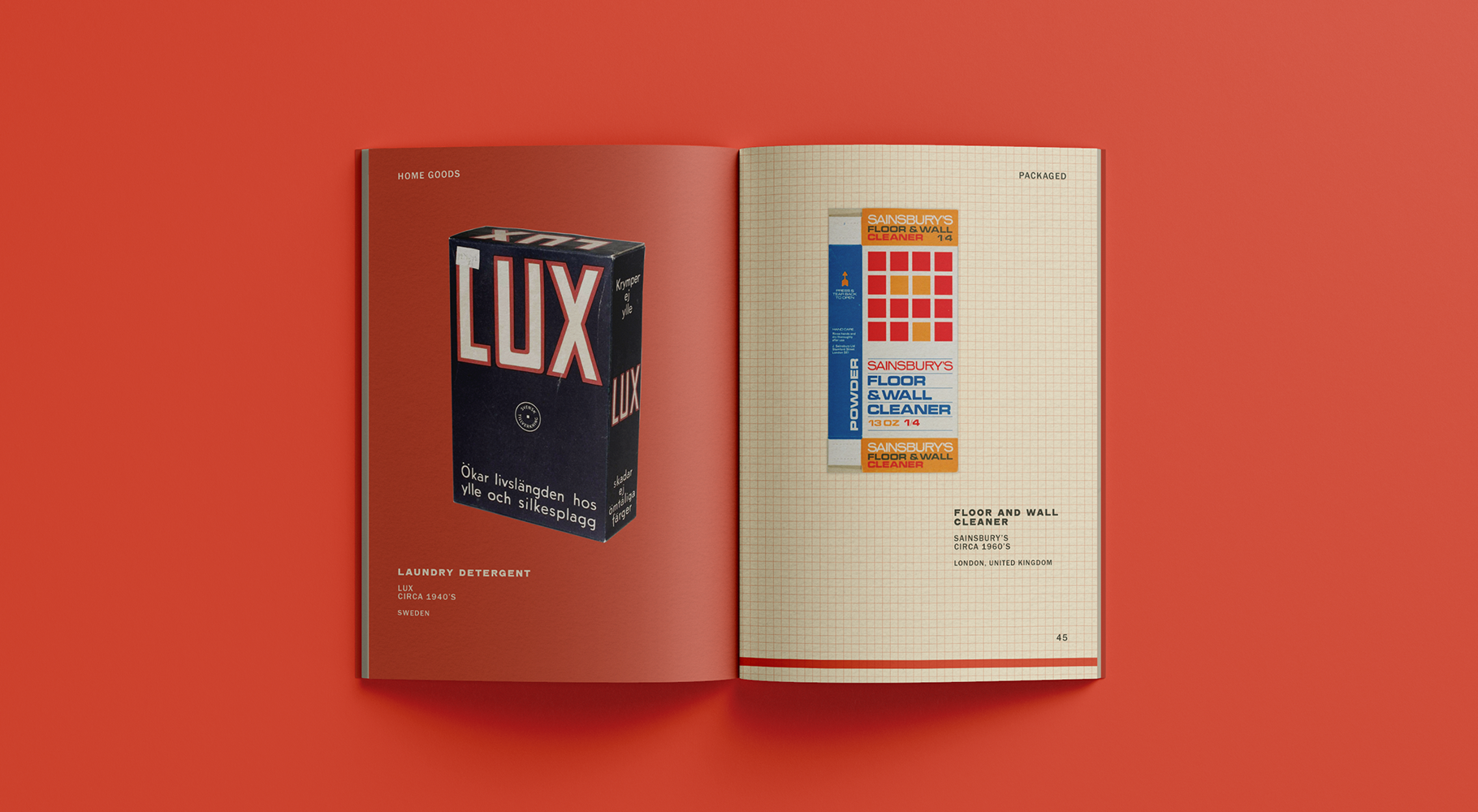 A spread of a catalogue, featuring an image of Lux brand laundry soap and Sainsbury brand floor cleaner.
