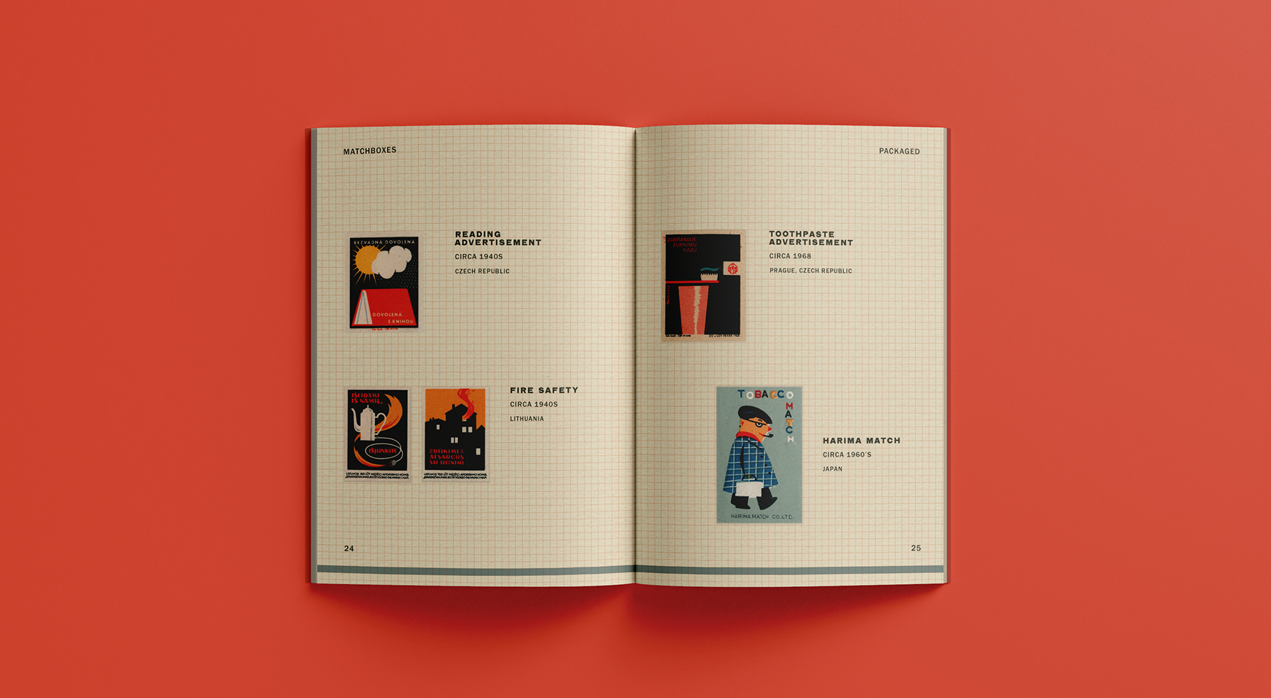 A catalogue spread featuring various vintage matchbook designs.