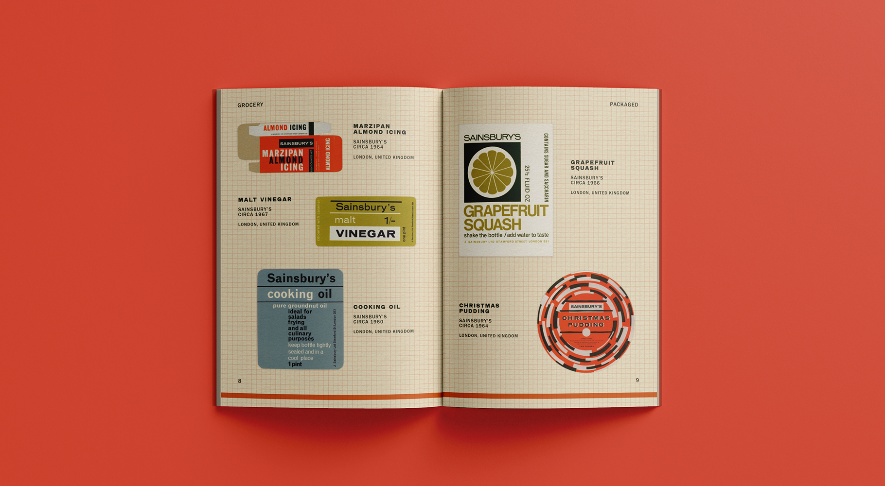 A catalogue spread featuring various grocery packaging designs.