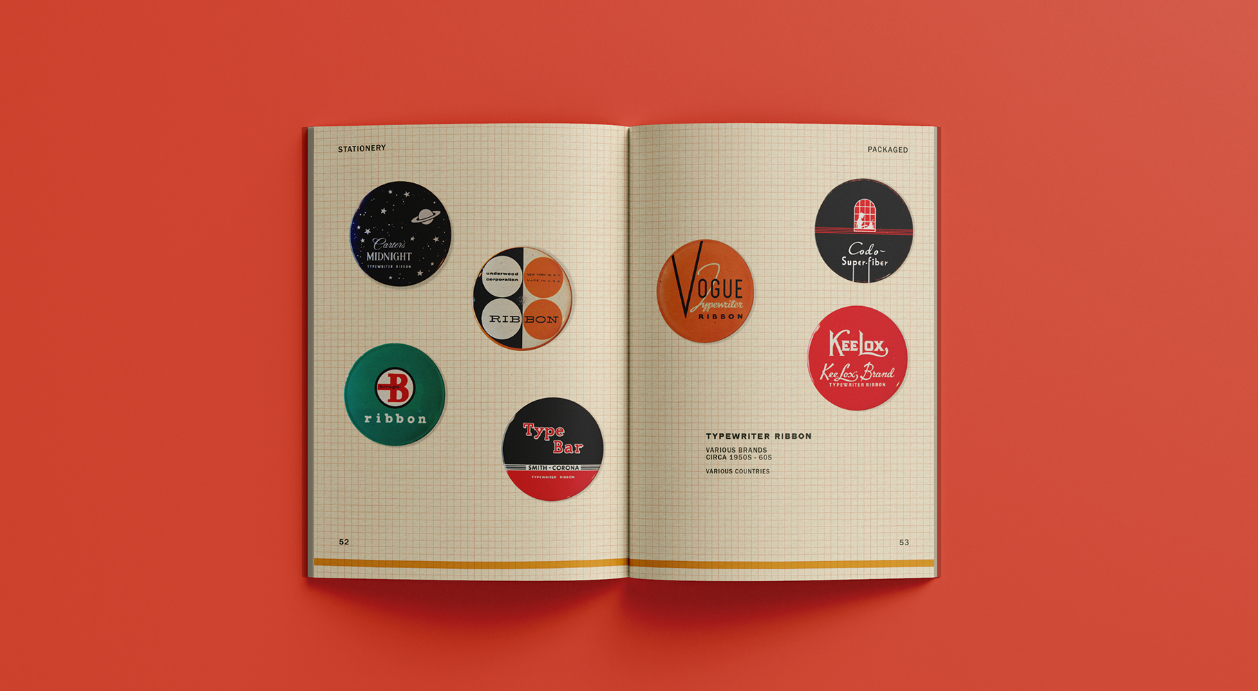 A catalogue spread featuring various typewriter ribbon designs.