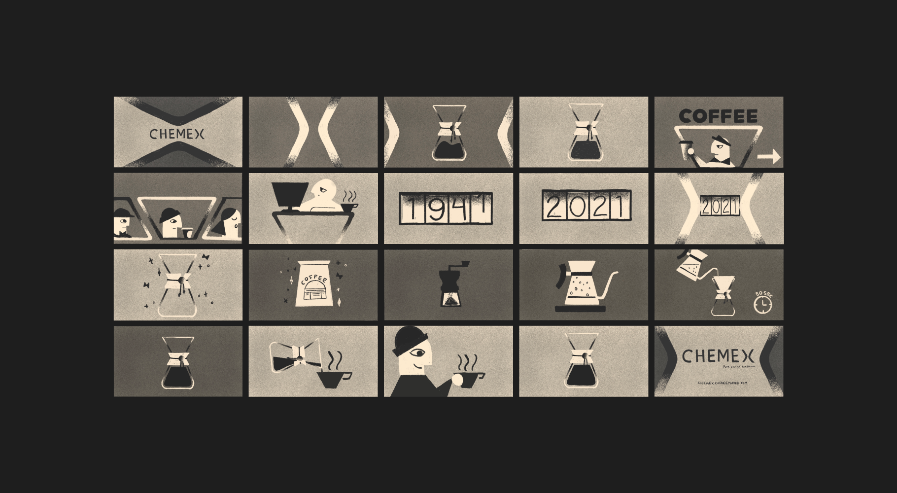 An image of storyboard sketches for a Chemex explainer video.