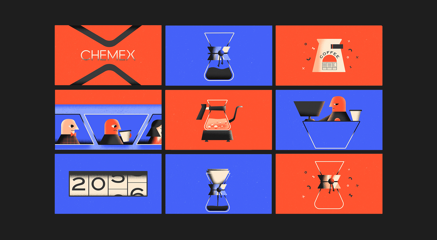 An image of style frames for a Chemex video. The frames are bright orange, purple and black and feature grainy, Bauhaus inspired illustrations.