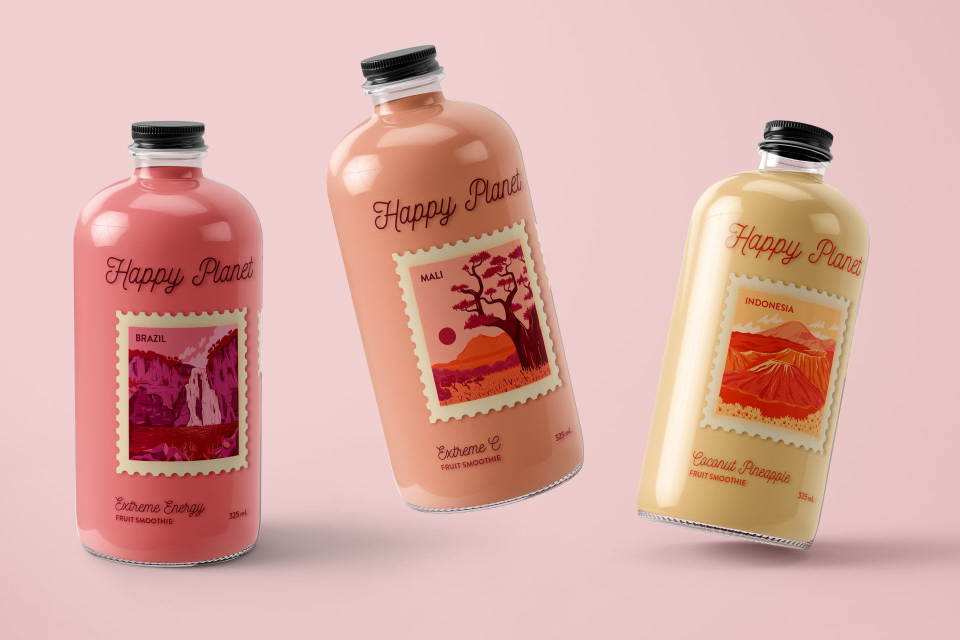 Photo of three flavours of Happy Planet brand smoothie.