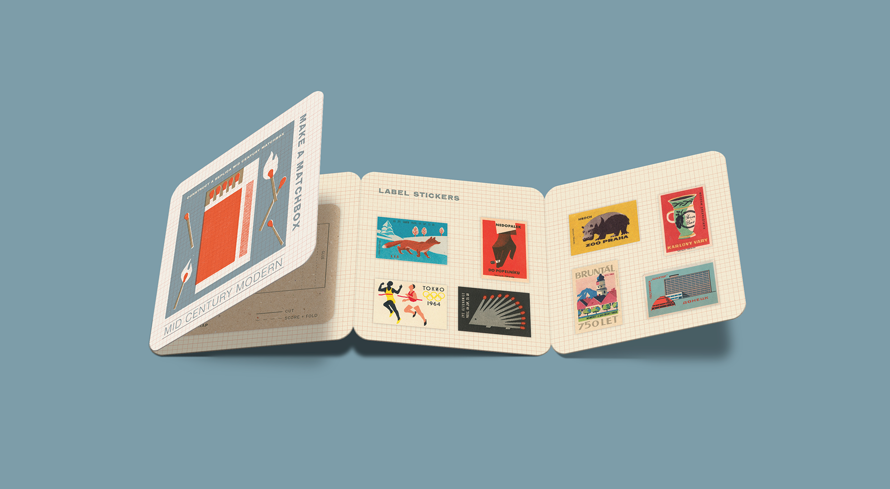 """An accordion brochure called """"Make a Matchbook"""", including items to make a vintage matchbook"""