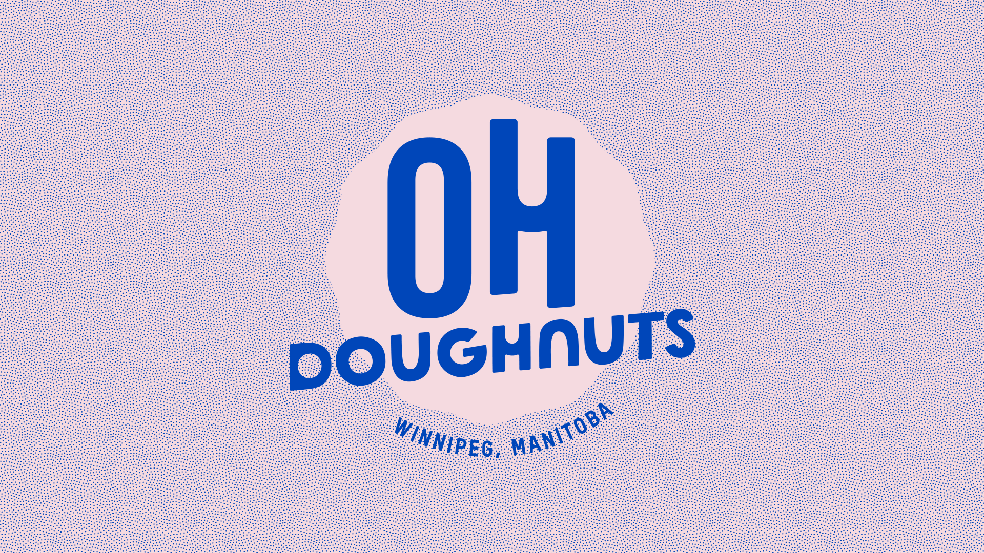 """A redesigned Oh Doughnuts logo with """"Winnipeg, Manitoba"""" in a circular path around the edge of the logo. The words Oh doughnuts are placed on an icing-like background with the word""""Oh"""" emphasized and the type written in a hand rendered circle-based type."""