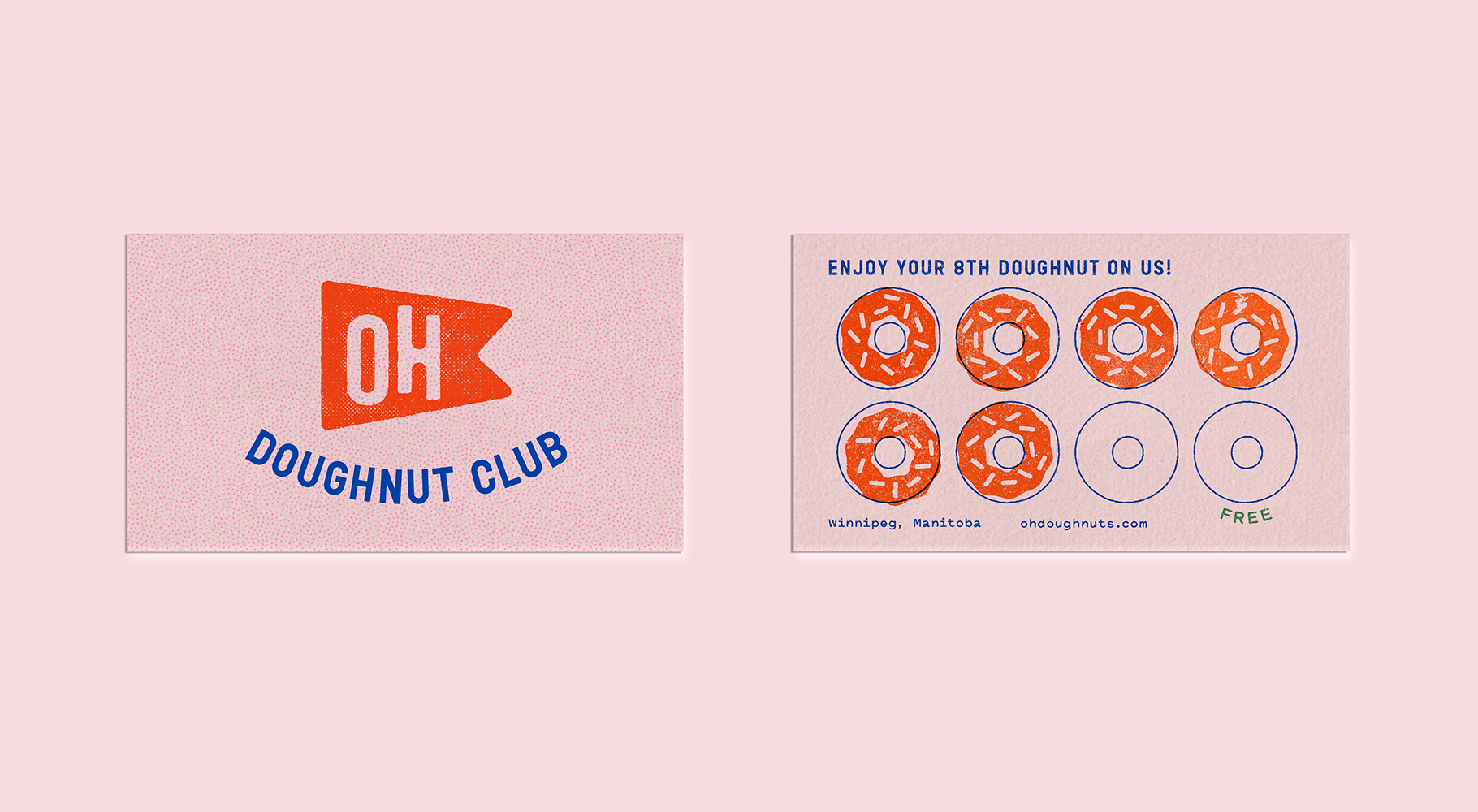 """An image of the front and back of an Oh Doughnuts rewards card. The front says """"Oh Doughnut Club"""" with """"Oh"""" on a flag graphic. The back has doughnut shapes with some stamped with an orange icing and sprinkle stamp."""