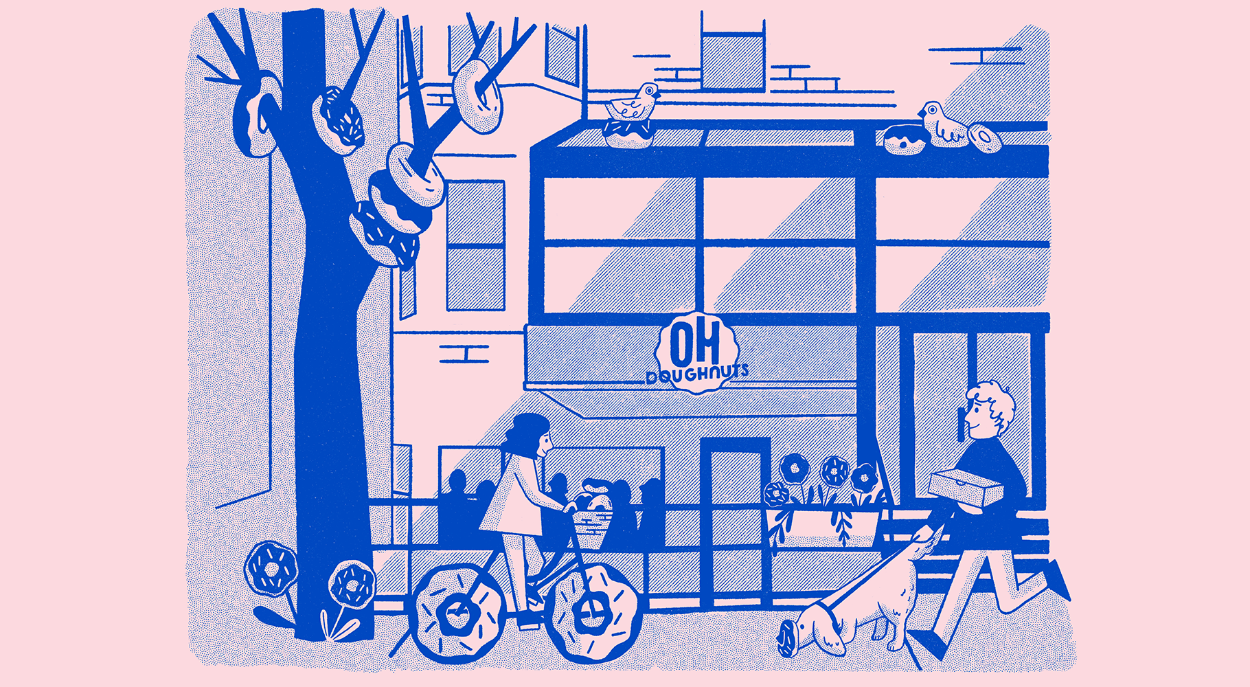 An illustration of the Oh Doughnuts storefront with a tree with doughnuts hanging from the branches, pigeons in doughnut nests, a girl on a doughnut bike and a man walking a dog with a doughnut on it's snout. The illustration is blue with a pink background.